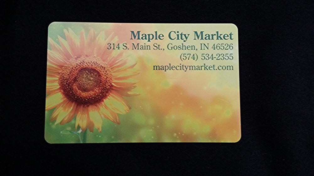 Maple City Market gift card    SOLD    Value: $100    Starting Bid: $60