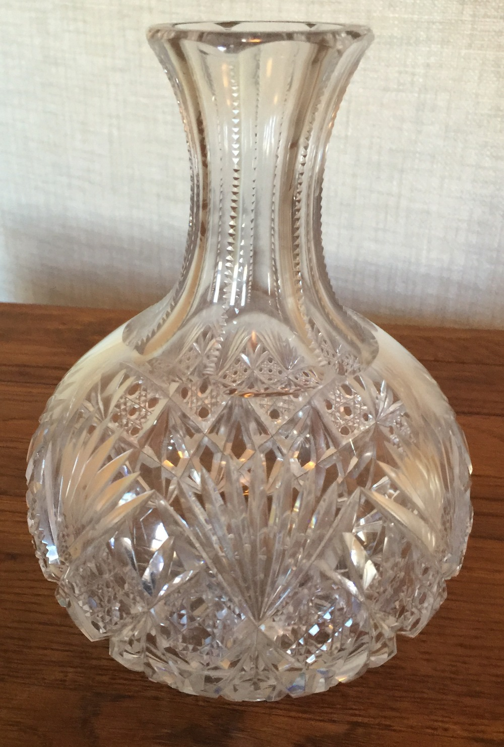 American Brilliant Age Hand-cut Carafe    Estimated Value: $200    Staring Bid: $120