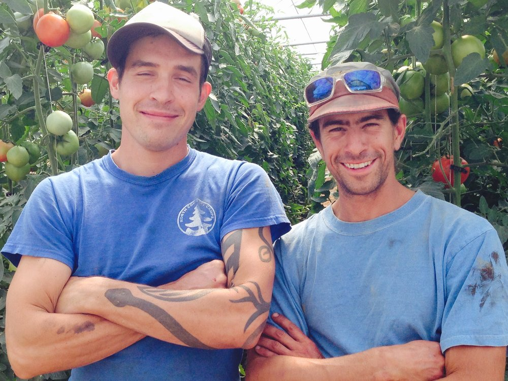 Left: Lucas Christenson & Right: Ian Ater, owners of Fledging Crow Vegetables