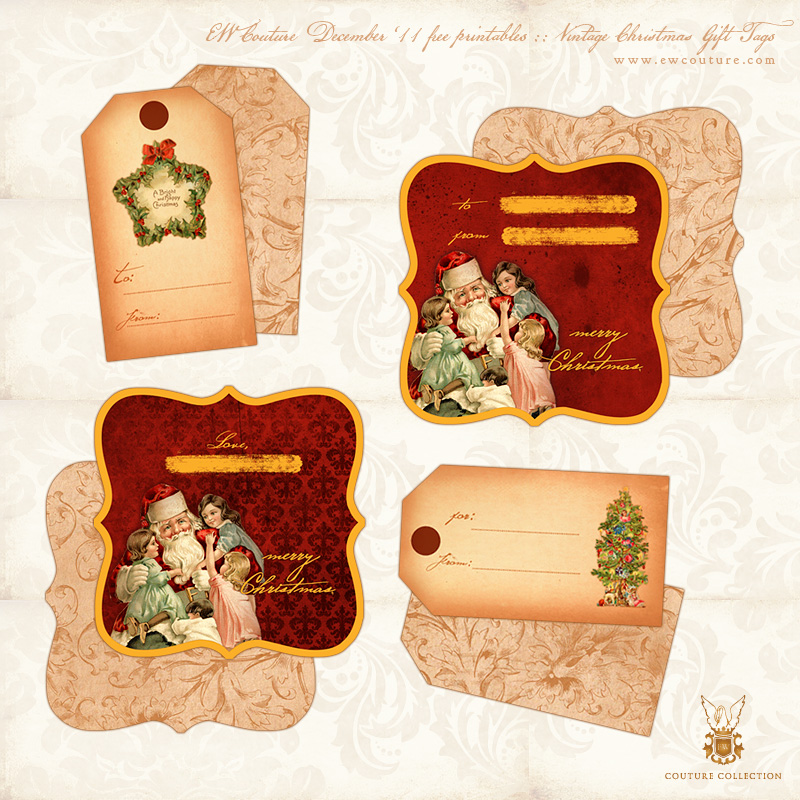 Free printables vintage christmas gift tags double sided ew free printables ew couture vintage christmas gift tags negle Image collections