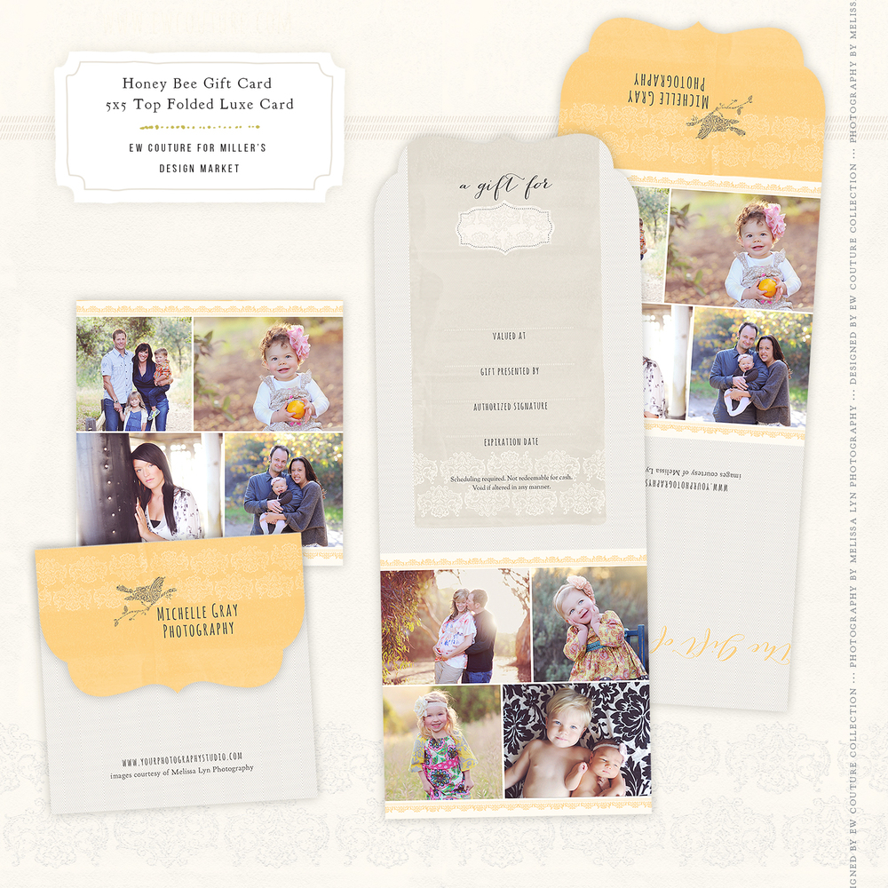 Honey Bee Marketing 5x5 Top Folded Luxe Gift Card, with beautiful images by CA photographer, Melissa Lyn Photography.
