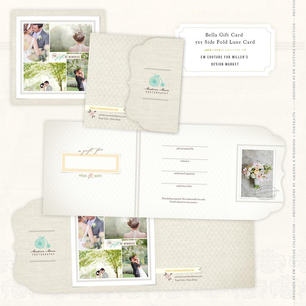 Bella Marketing Essentials 5x5 Side Folded Ornate Luxe Gift Card / showcasing the beautiful photography of destination digital and film wedding and portrait artist Amanda K Weddings + Portraits.