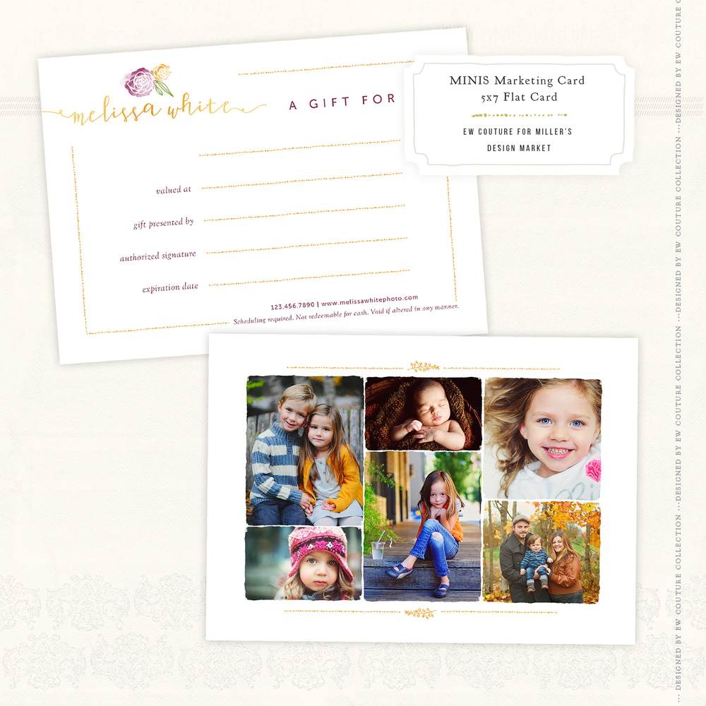 the Minis Marketing Gift Card 7x5 Flat Card, showcasing images by Elena Wilken/EW Couture Collection