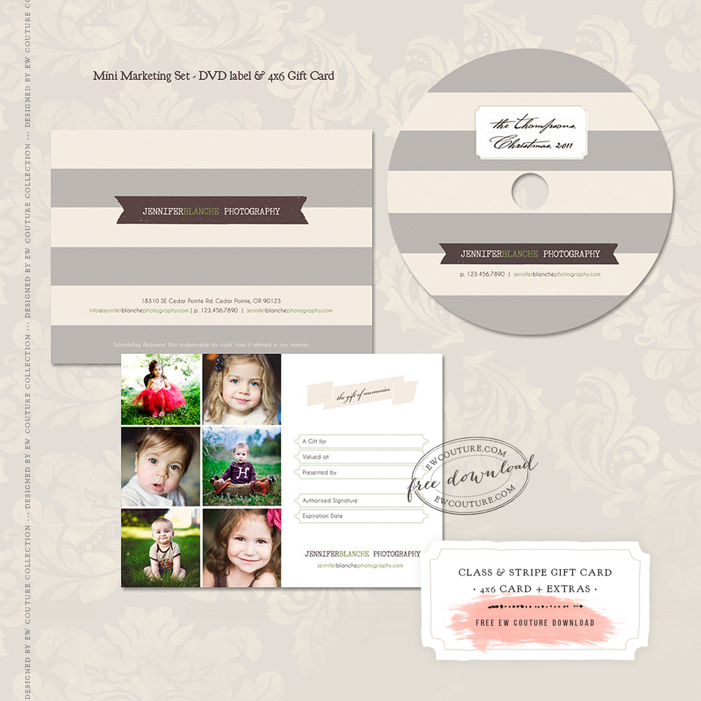 This 4x6 flat gift card design free download, also comes with a few extras. Just click the image to access the editable, .psd files. Enjoy! / images by Elena Wilken/EWCouture Collection