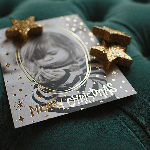 Trust In Him Red Gold Foil Christmas Card / most darling image taken by Naturally Maternal Photography/Alexandra Hanlon