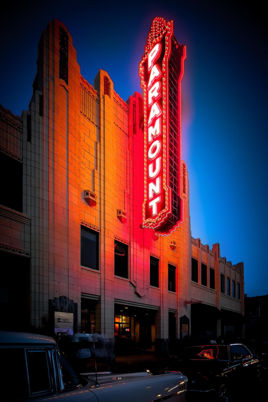 Paramount Theater at night