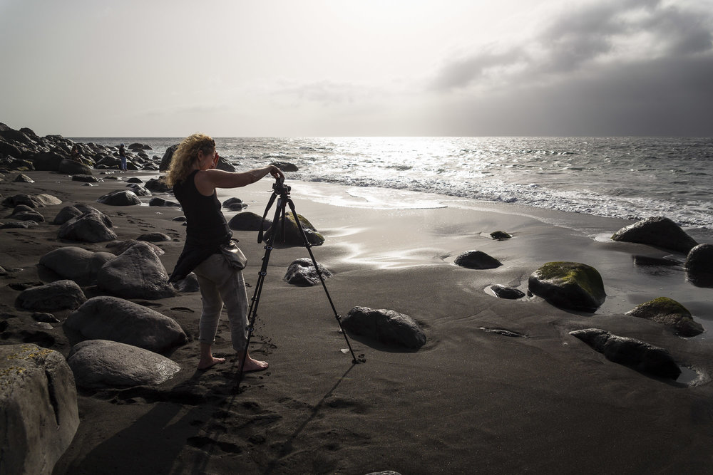 Long exposure photography at a black-sand beach during a one-to-one photography workshop in Gran Canaria