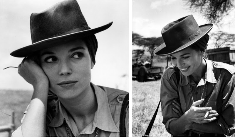 Elsa Martinelli in a wide brimmed hat.