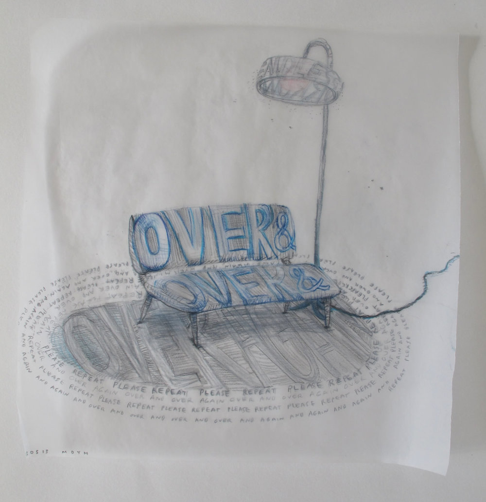"Over & Over & Over & (Again) 2012  Colored pencil on tracing paper. 11"" x 11"""