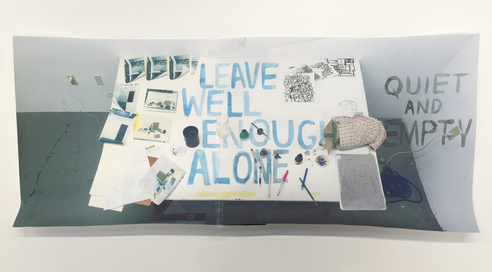 """Leave Well Enough Alone. 2016  Gouache, ink on inkjet print. Onionskin typing paper.20"""" x 8.5"""""""