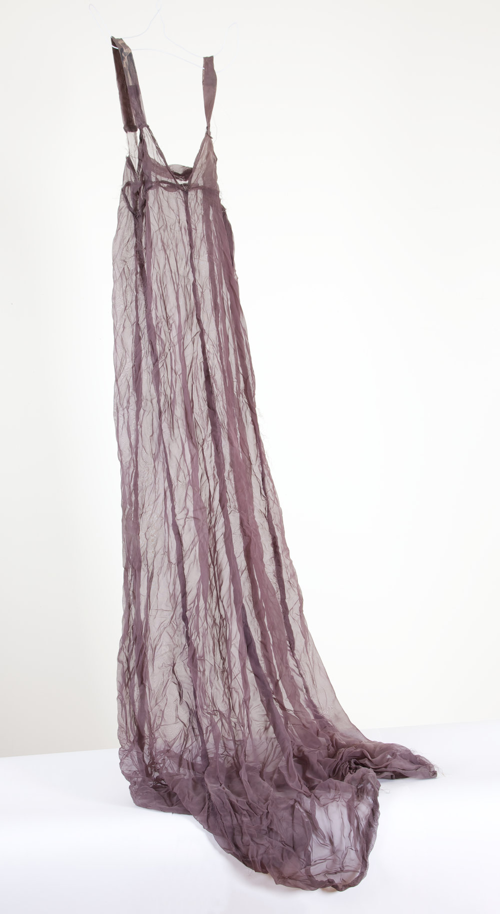 Negligee gown. 2010  Dyed polyester organza. This cloth was purchased for the 2006 installation, The Conversation, and never used.  Dyeing polyester is a nasty experience.