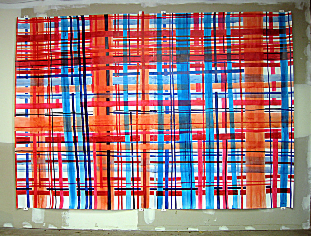 "Big Plaid 2. 2003  Ink on paper (two panels stitched together). 105"" x 75"""