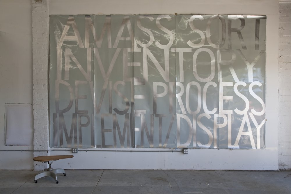 AMASS SORT / INVENTORY / DEVISE PROCESS / IMPLEMENT DISPLAY 2009-10  Sign paint on laminated digital prints.