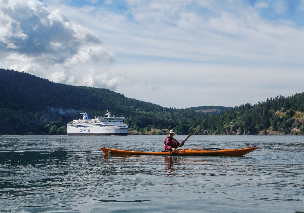 Paddling with Ferries at Mayne Island