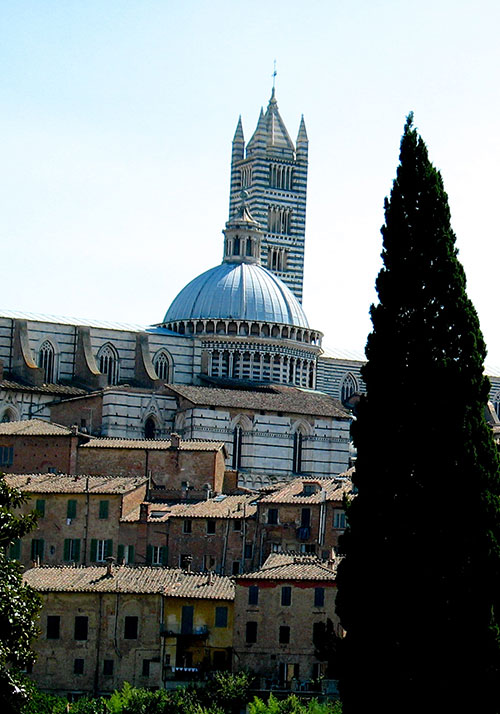 View of the town and cathedral, Siena
