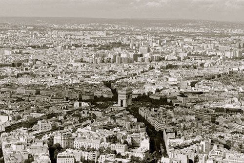 View of Paris and Arch di Triomphe from Eiffel Tower