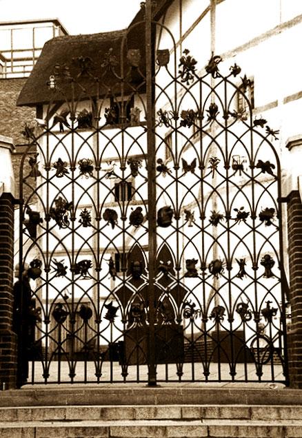 Ornate gate at the Globe Theatre, London