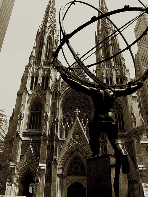 Atlas statue facing St. Patrick's Cathedral