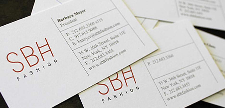 SBH Fashion Retail business card Design NYC