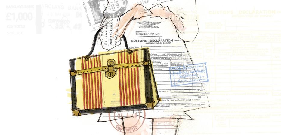 luxury luggage hangbag illustration design and branding