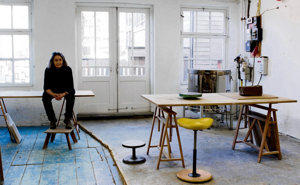 Form and function: ceramic sculptor Deirdre McLoughlin takes a break in her Amsterdam studio where she is finishing the final pieces for her exhibition, Shaping the Void. Photograph: Aidan Dunne