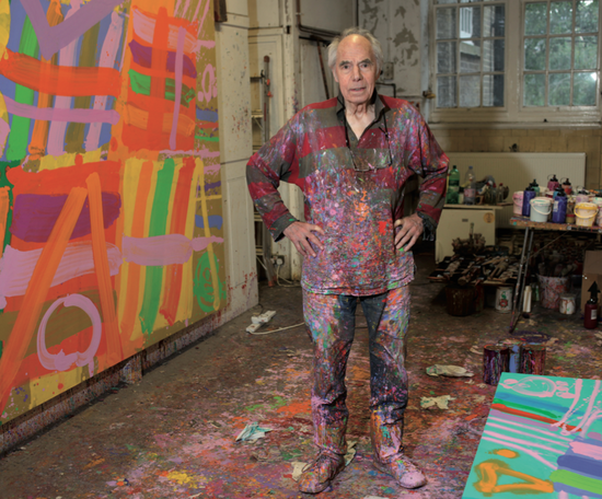 Albert Irvin RA revels in a riot of colour at his studio in Stepney Green, with 'Inextinguishable' (2010) behind him Photograph by Eamonn McCabe