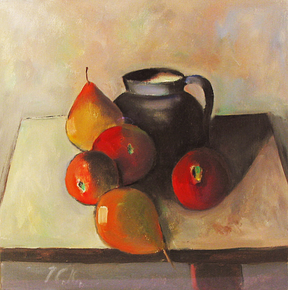 Peter Collis_-_Fruit and Blue Jug_oil on canvas_30 x 30cm.jpg