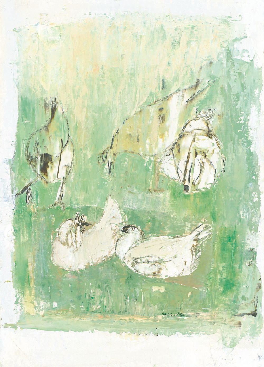 Anne Donnelly_-_Chickens in Green_oil on board_35 x 25cm.jpg