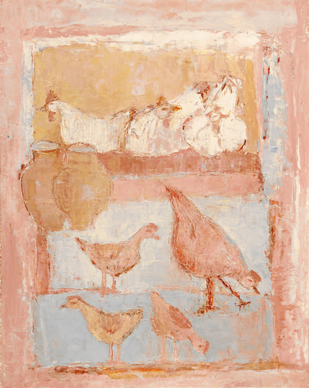 Anne Donnelly_2004_Chickens and their Young_oil on paper_34.5cm x 27.5cm.jpg