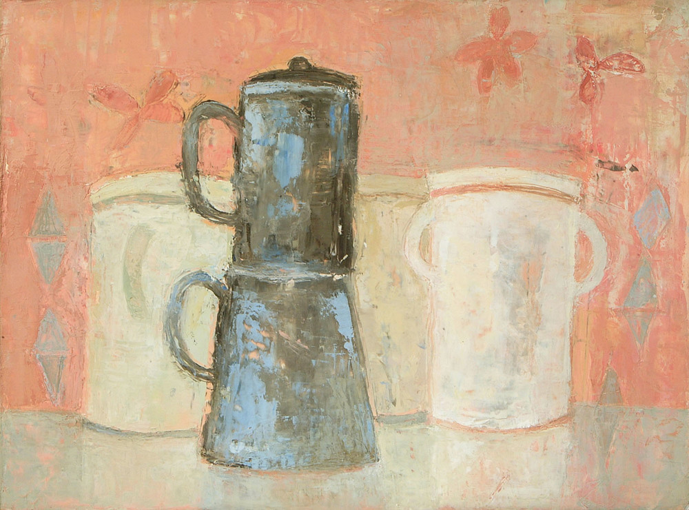 Anne Donnelly_2007 _Coffee pot and jars_oil on paper_28.5 x 38.5cm.jpg