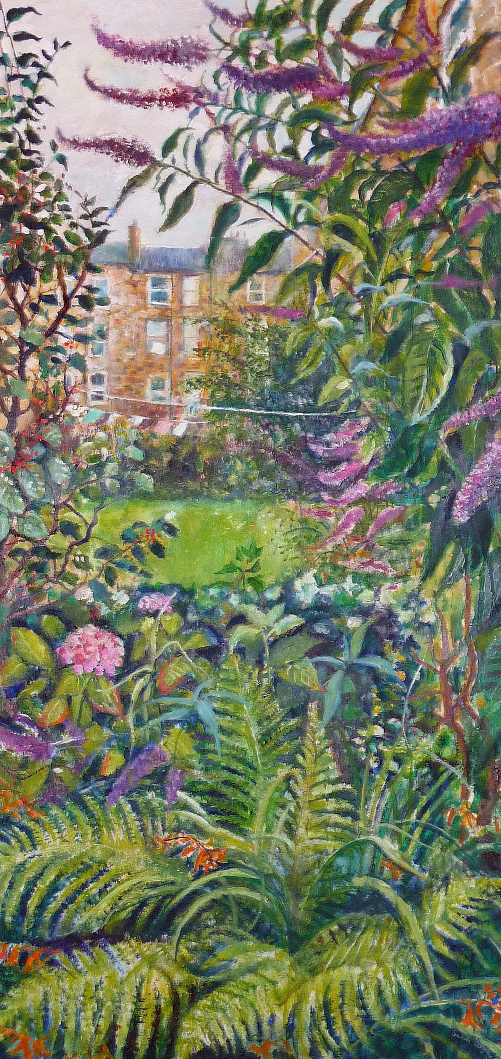 Sarah Longley_-_Back Garden Triptych 2 - Budleia and Ferns_oil on board_138 x 70cm.jpg
