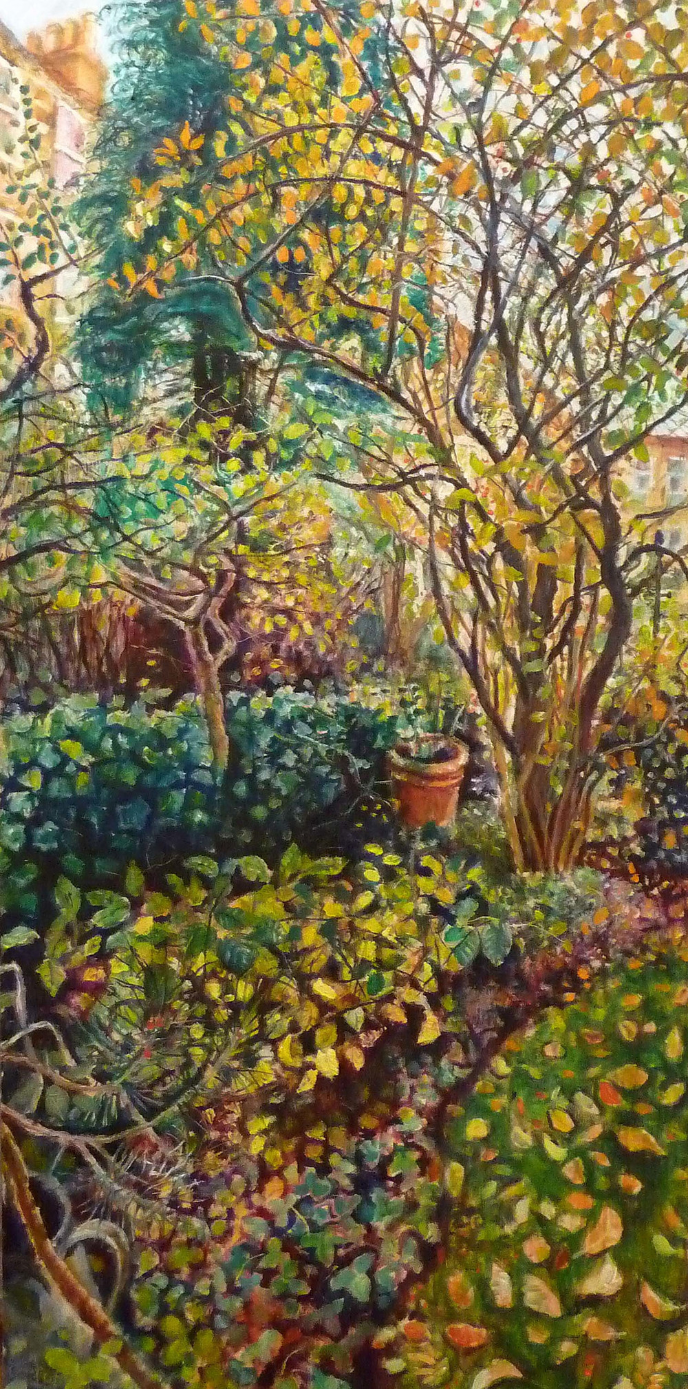 Sarah Longley_-_Back Garden Triptych 3 - Corner of the Garden_oil on board_138 x 70cm.jpg