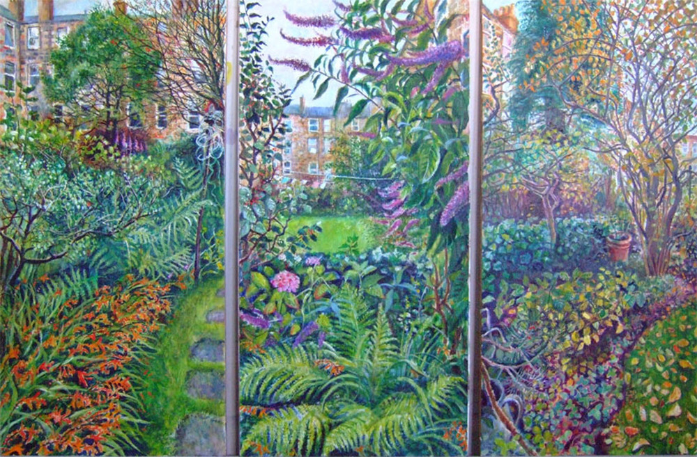 Sarah Longley_-_Back-Garden-triptych_oil on board_138 x 70cm per panel.jpg