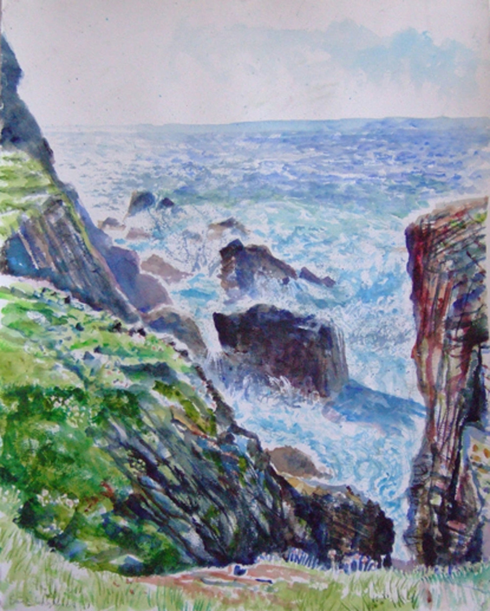Sarah Longley_-_Duncansclate Cliffs_watercolour_76 x 56cm.jpg