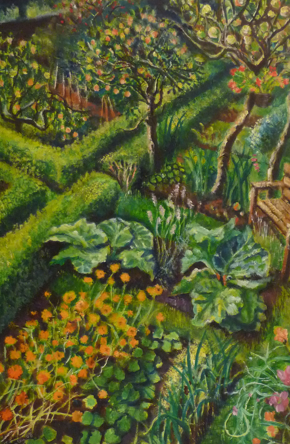 Sarah Longley_-_Garden Bench_oil on board_61 x 41cm.jpg