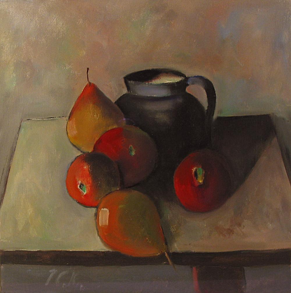 Peter Collis_-_Fruit and Blue Jug_oil on canvas_30 x 30cm.JPG