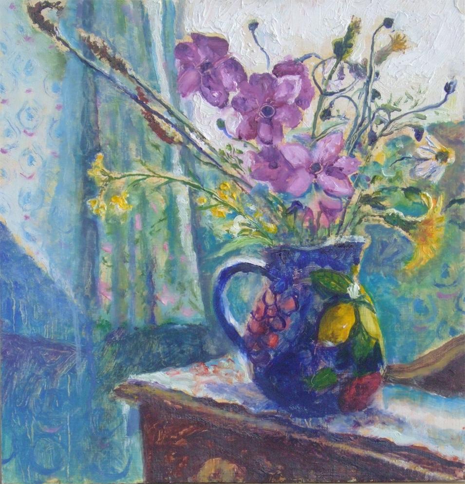 Sarah Longley_-_Blue Jug_oil on board_11 x 11cm.jpg