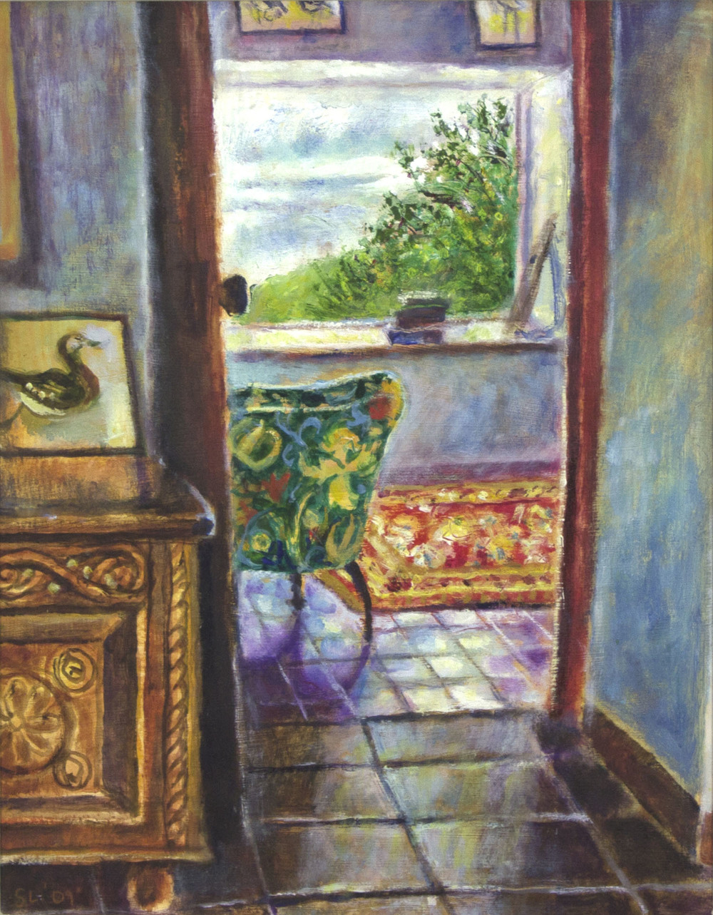 Sarah Longley 'Interior With Green Chair' oil on board 35x27cm.jpg