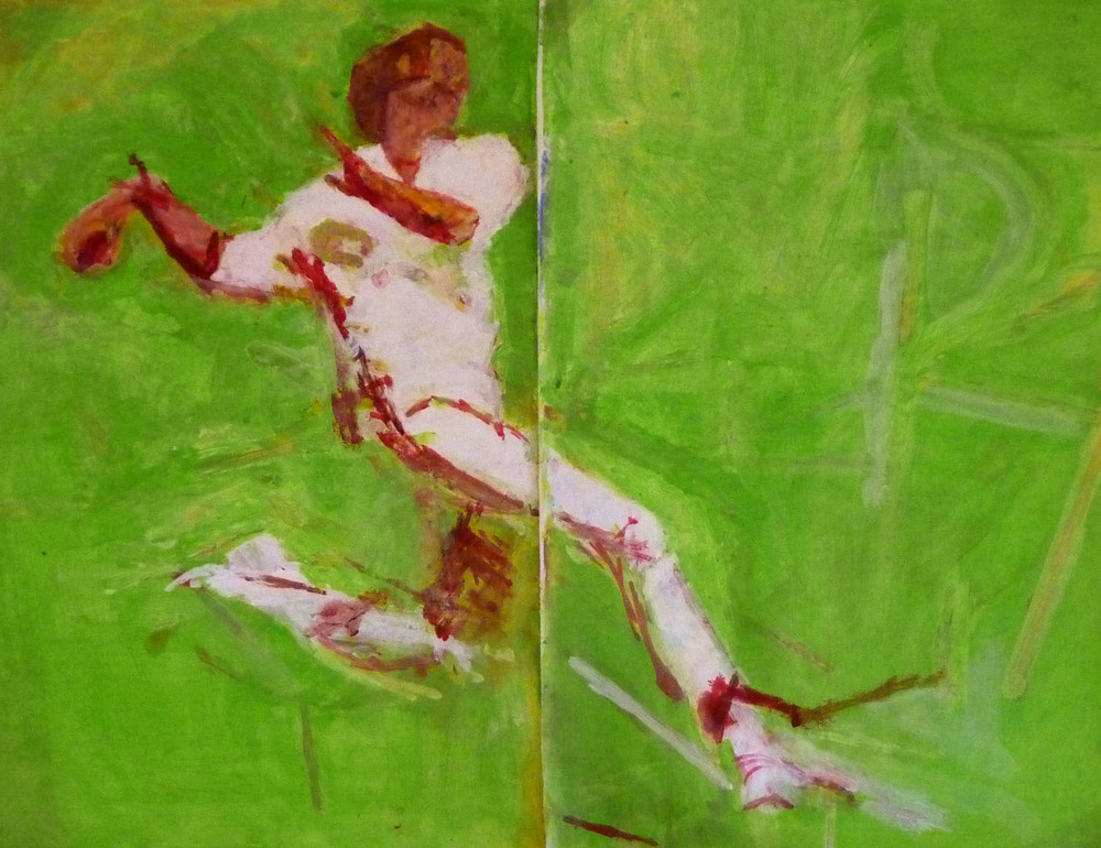 Joseph O'Connor 'Cricketer, acrylic on paper, 51 x 66cm.jpg