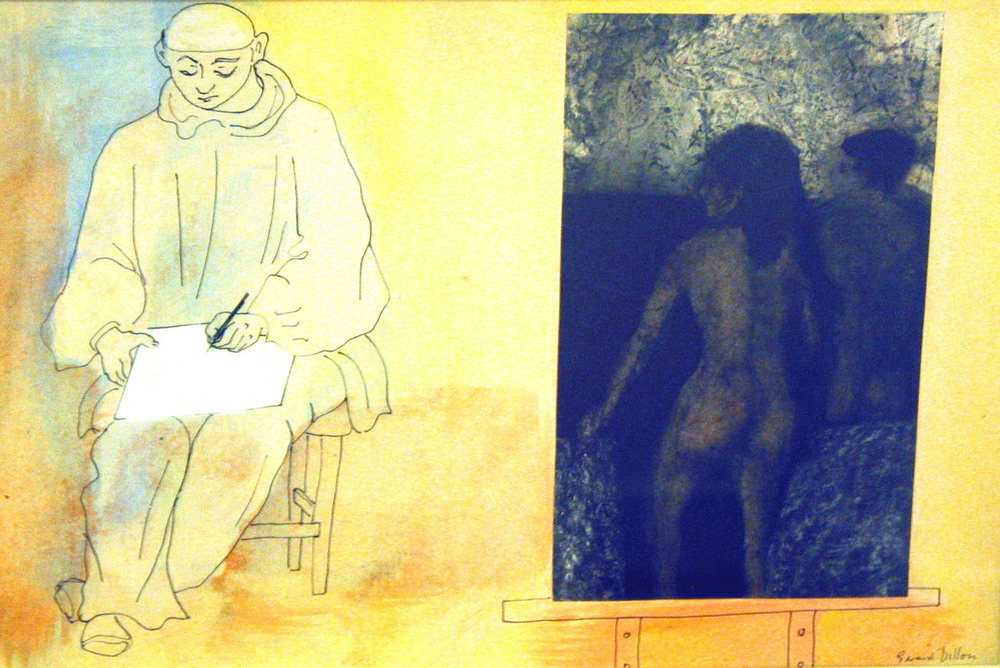 Gerard Dillon 'The Bathers and Self Portrait' gouache and ink on paper 36x54cm.jpg