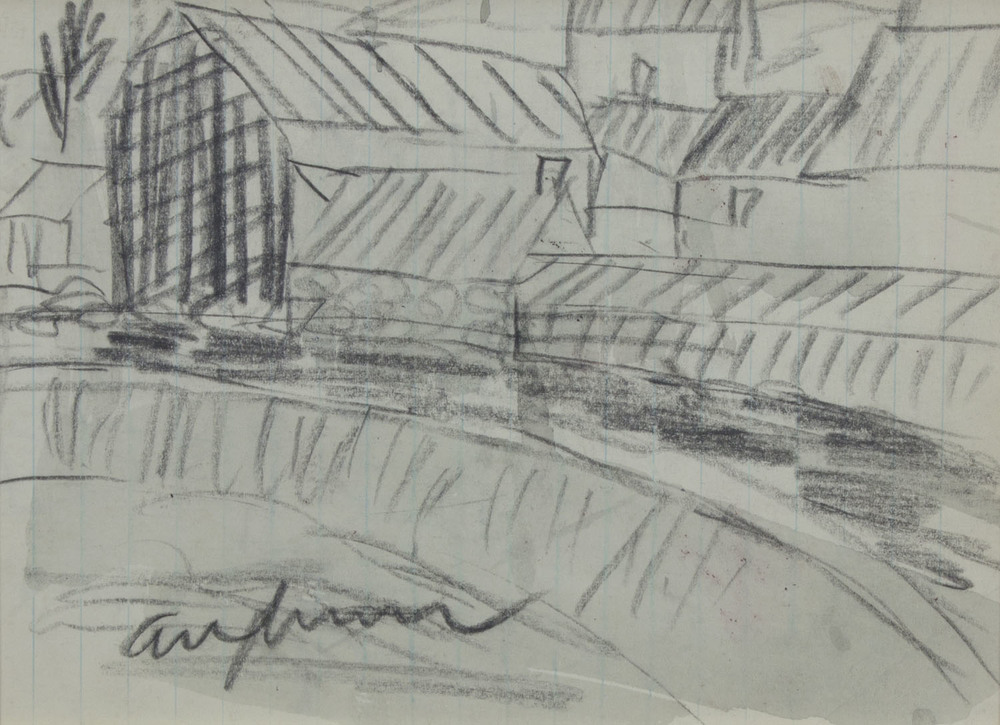 Tony O'Malley 'Aughrim Co Wicklow' pencil and wash on paper 13x18cm .jpg