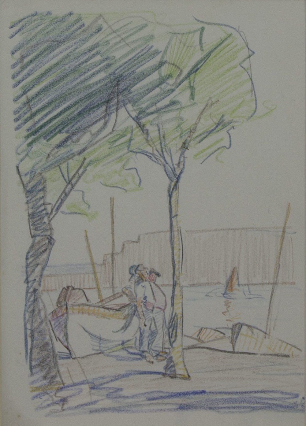 Mary Swanzy 'Boatmen' coloured pencil on paper 28x20cm.jpg