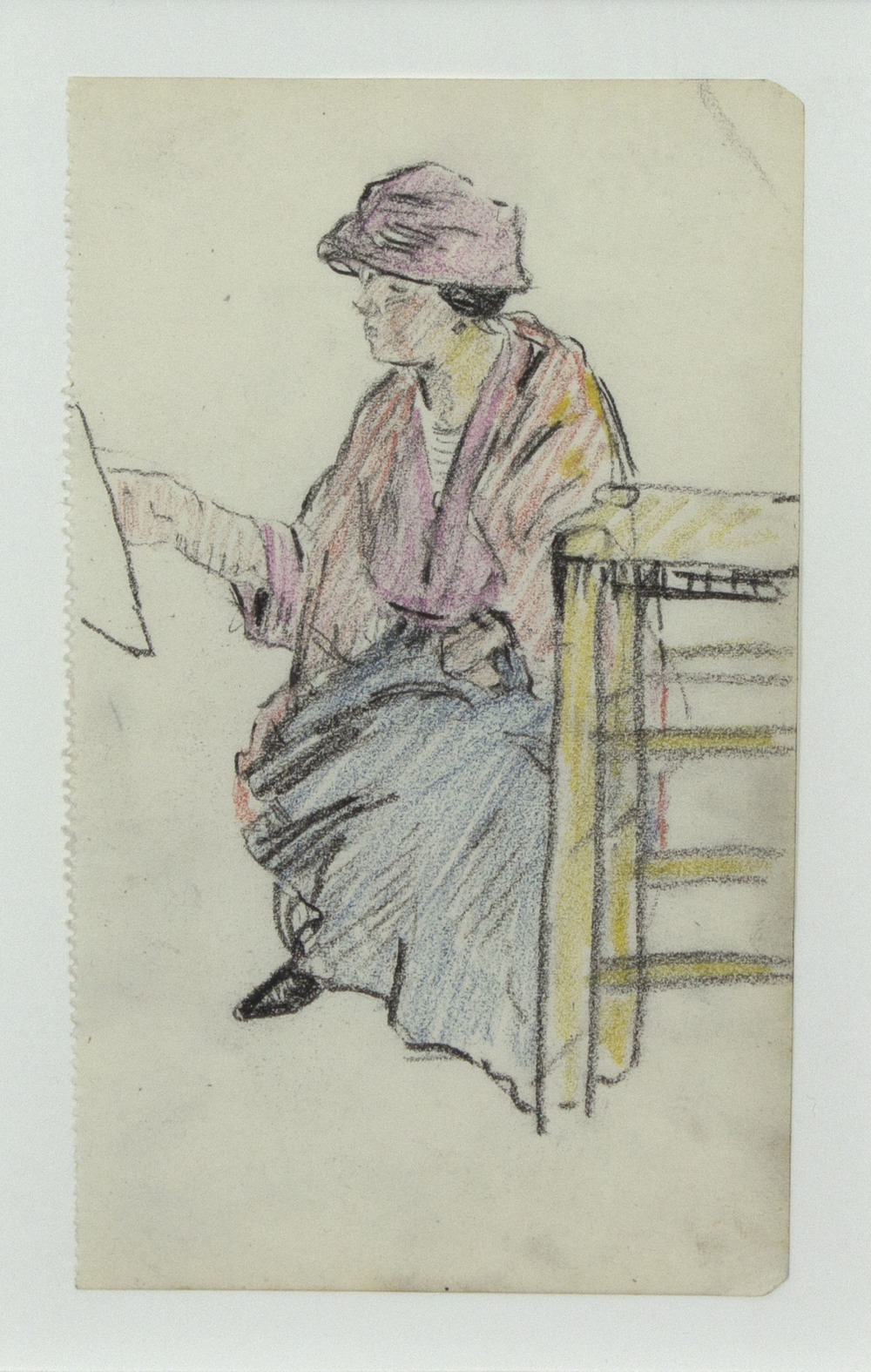 Mary Swanzy 'Artist At Work' c.1905 coloured pencil drawing 14x9cm.jpg