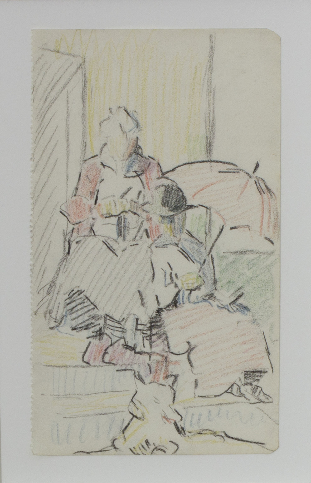 Mary Swanzy 'The Parasol' coloured pencil on paper 14x9cm.jpg