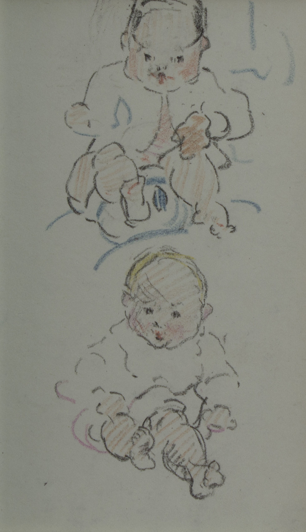 Mary Swanzy 'Two Babies' pencil and crayon on paper 14x8cm.jpg