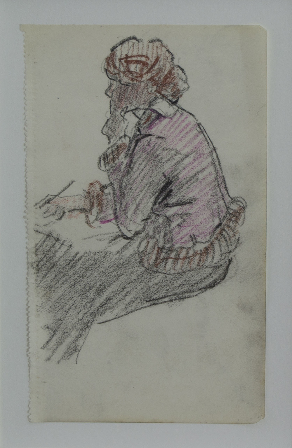 Mary Swanzy 'Young Girl Sketching' coloured pencil drawing 14x9cm.jpg