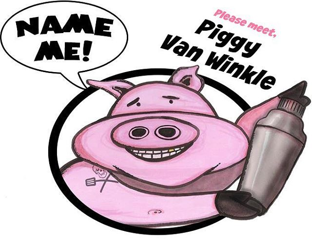 "Our mascot is so happy to finally have a name! Please meet #PiggyVanWinkle! Thank you Holly Gilmartin, the winner of our ""name the pig"" contest!  #BourbonBiergarten #BB17 #MFWF17"