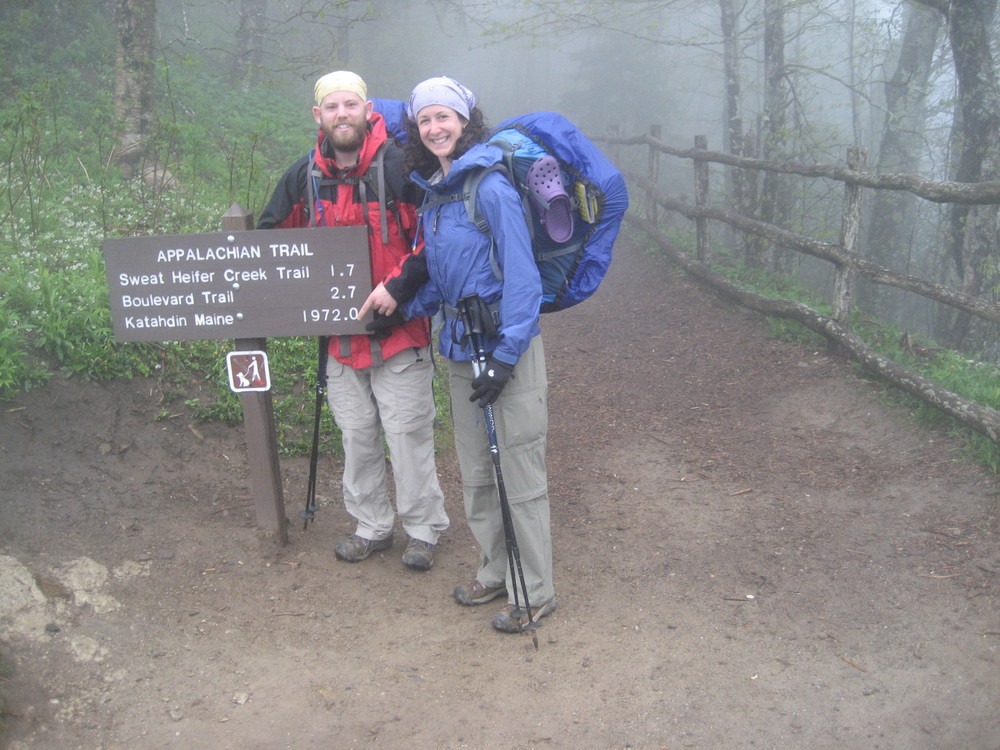 Matt and Angela at Newfound Gap on the Tennessee / North Carolina border  Appalachian Trail (2010)