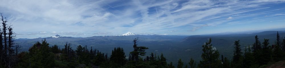 Looking north, from left to right, Three fingered Jack, Mount Jefferson and Mount Adams (click for larger image)