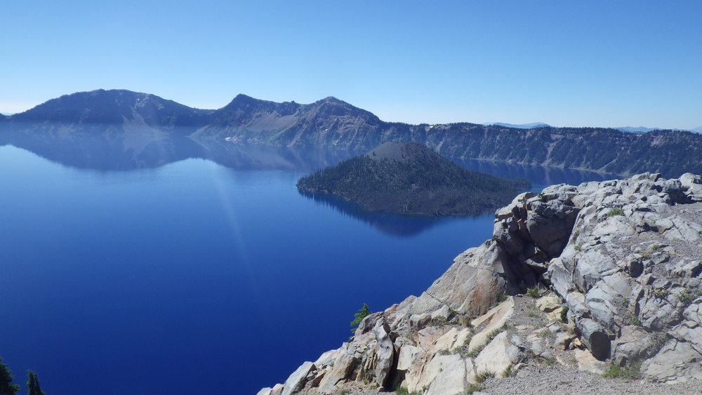 Crater Lake and Wizard Island as seen from Merriam Point